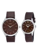 Austere Daniel Analog Brown Dial Couple's Watch-Lo-DL-0505C