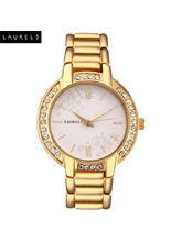 Laurels Mystic White Dial Women Watch (LL-Mst-101), white, gold